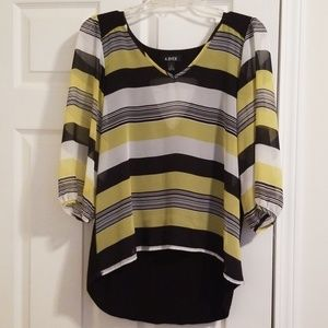 3/4 sleeve blouse with sheer front